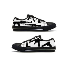 Load image into Gallery viewer, Gun Collage Low Top Canvas Shoes - Black and White - Warwares Military Shirts and More