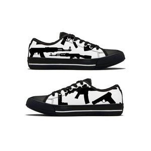 Gun Collage Low Top Canvas Shoes - Black and White - Warwares Military Shirts and More