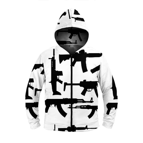 Gun Collage Hoodie - Black and White - Warwares Military Shirts and More