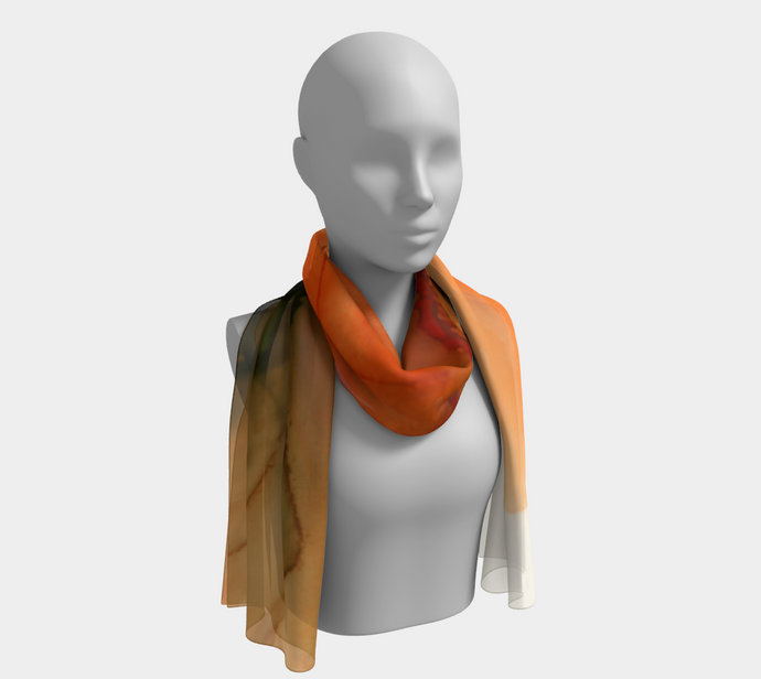 Long Scarf:  Ophelia's Orange Orchid
