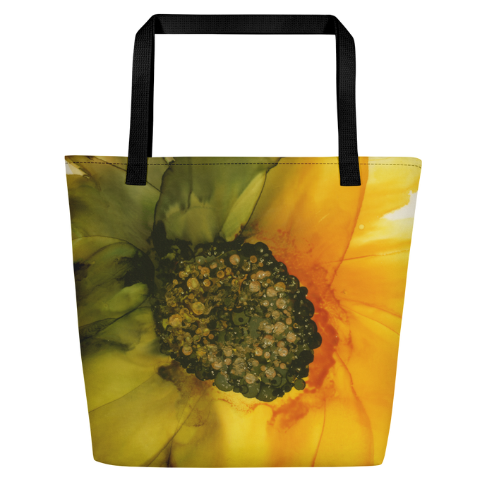 Tote with pocket:  September Sunflower