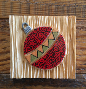 "Red Ornament Magnet 3""x3"""