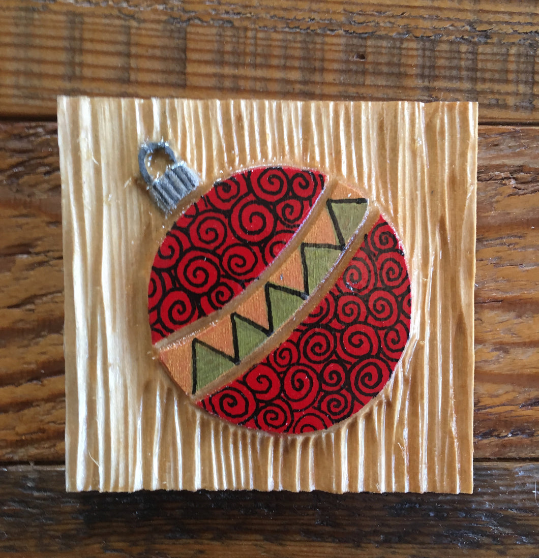 Red Ornament Magnet 3