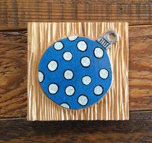 "Blue Polkadot Ornament Magnet 3""x3"""