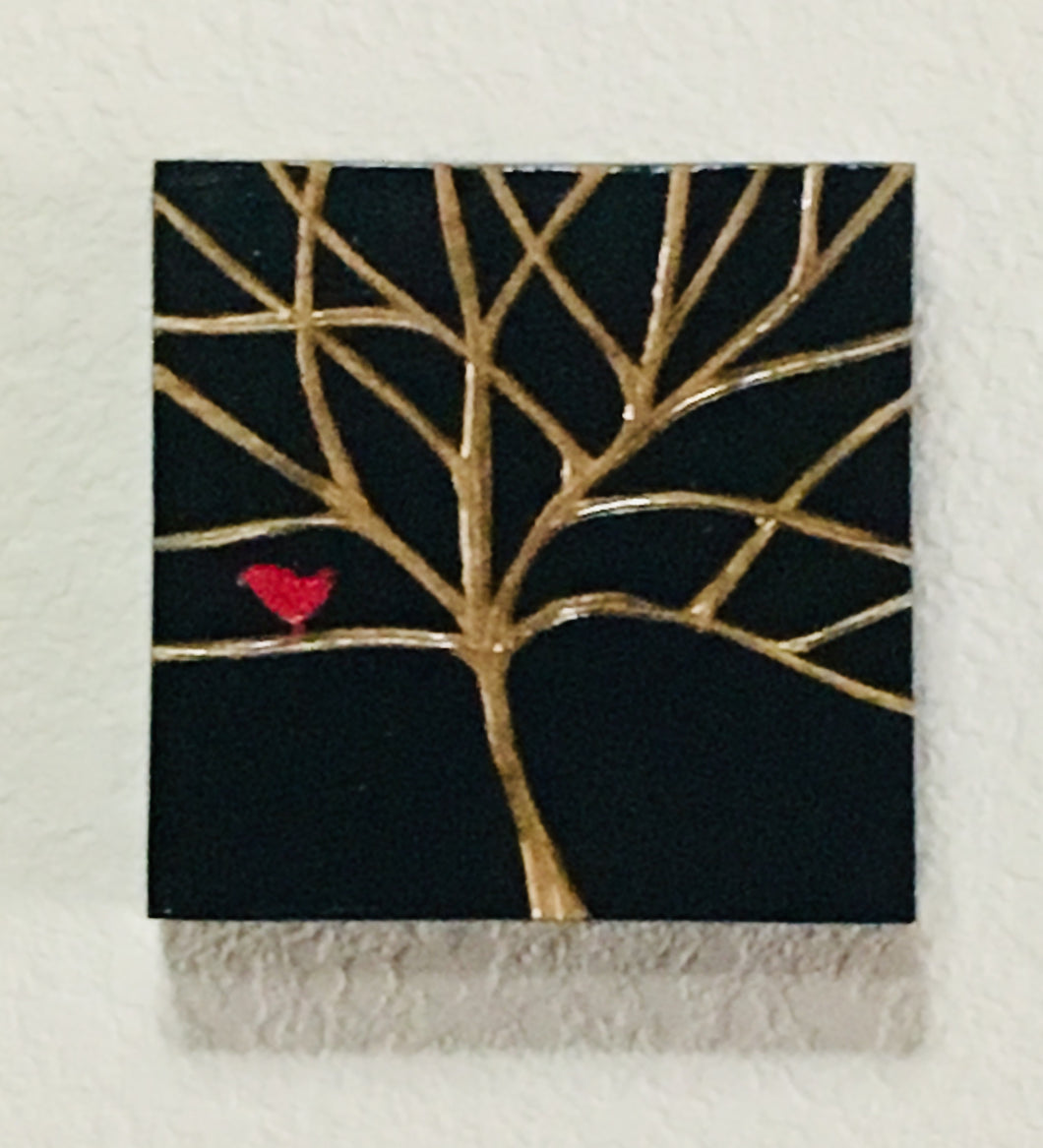 Red Bird in a Black Tree