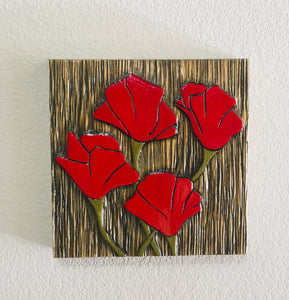 "Red Poppies 12""x12"""