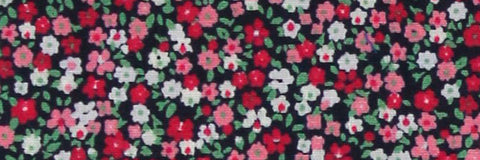 Photo of the Flowers in Red, Pink, and White on Midnight Blue Contrast Fabric