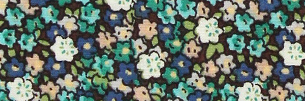 Photo of the Flowers in Blue and Turquoise on Black Contrast Fabric