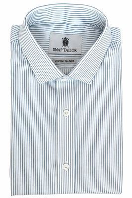 Photo of the Border Stripe Dress Shirt in White / Light Blue / Navy Blue