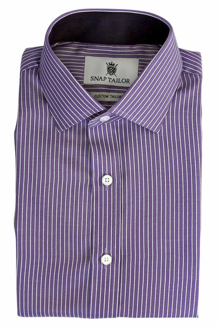 Photo of the Bordered Stripe Dress Shirt in Purple