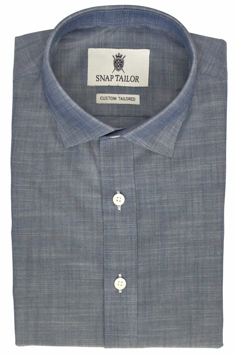 Chambray Casual Shirt In Midnight Blue Snap Tailor