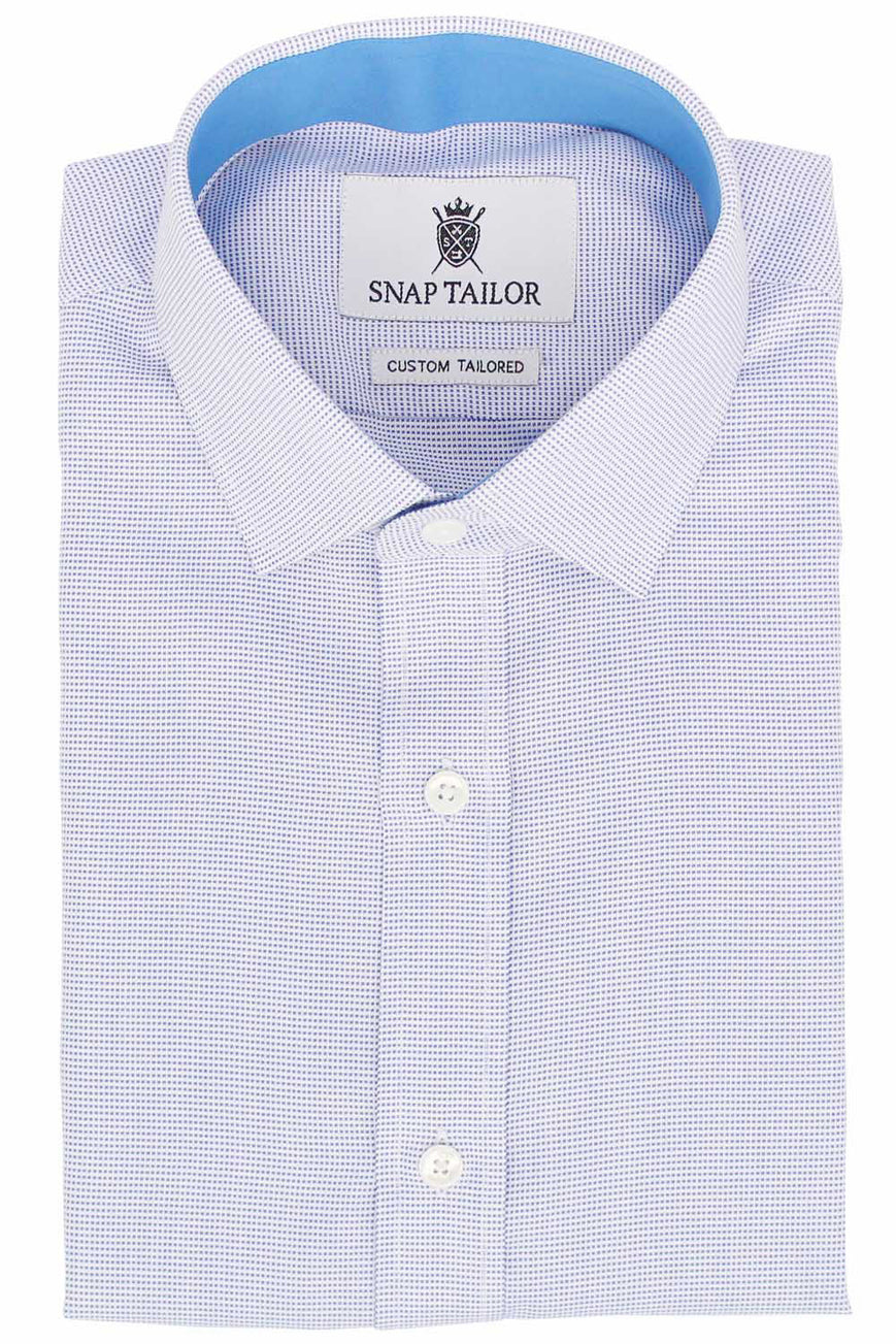 Photo of the Dots Soft Canvas Dress Shirt in Blue on White