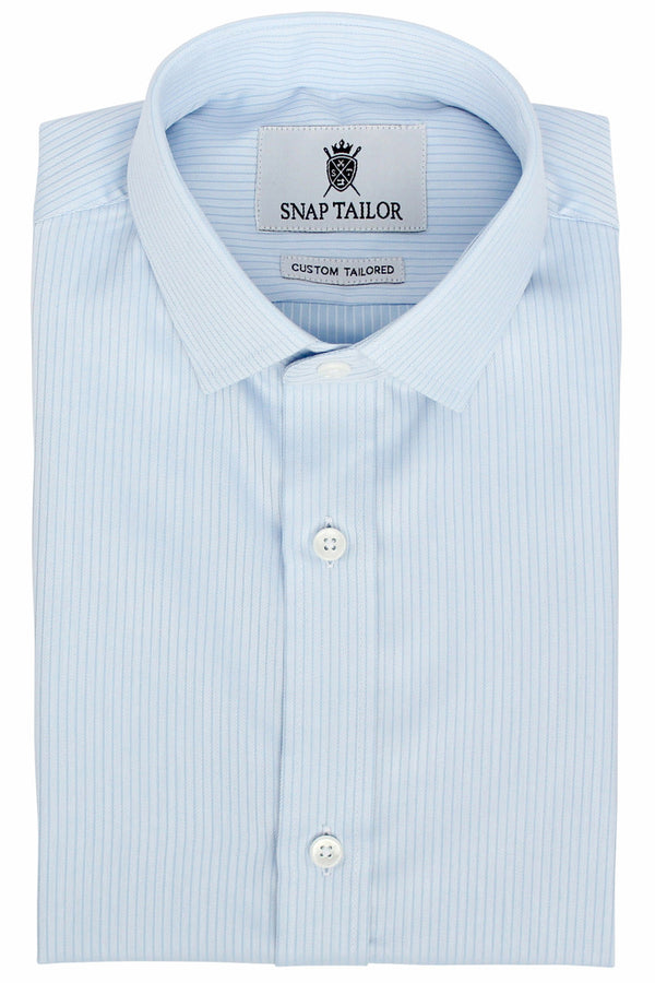 Photo of the Fine Twill Stripe Dress Shirt in Light Blue