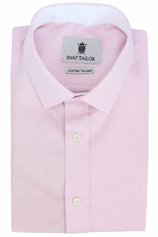 Photo of the Fine Twill Stripe Dress Shirt in Soft Pink