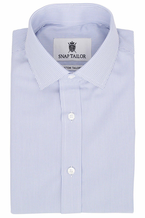 Photo of the Houndstooth Grid Twill Dress Shirt in Light Blue