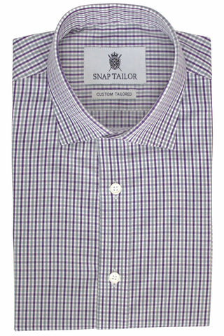 Photo of Mini Check Dress Shirt in Purple and Gray