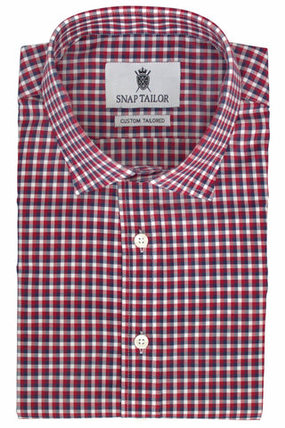 Photo of Multi Check Casual Shirt in Red, Midnight Blue, and White