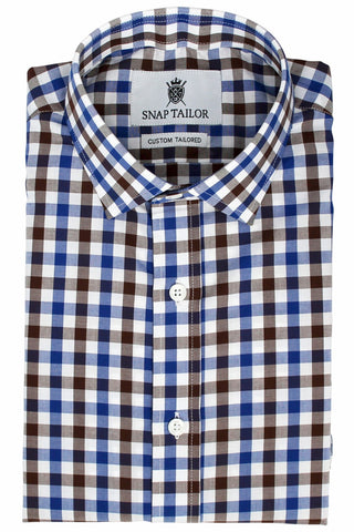 Photo of the Multicolor Gingham Casual Shirt in Brown / Navy Blue