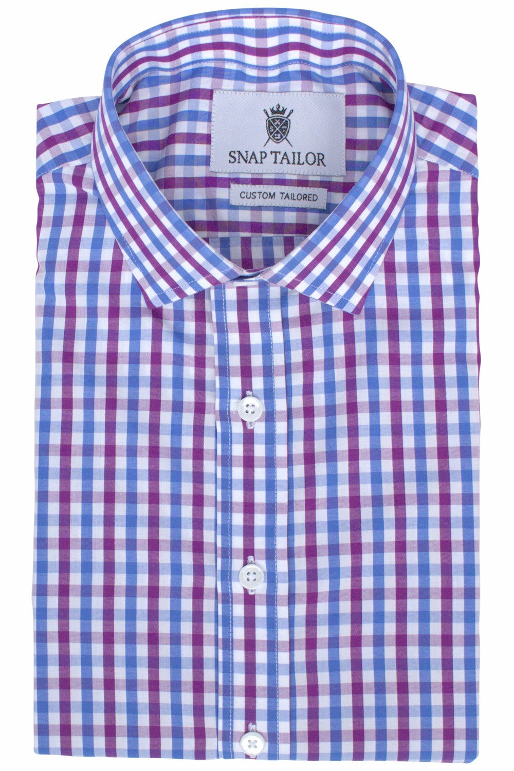 Photo of the Multicolor Gingham Casual Shirt in Eggplant / Sky Blue