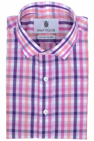 Photo of the Multicolor Gingham Casual Shirt in Navy Blue / Pink / Peach