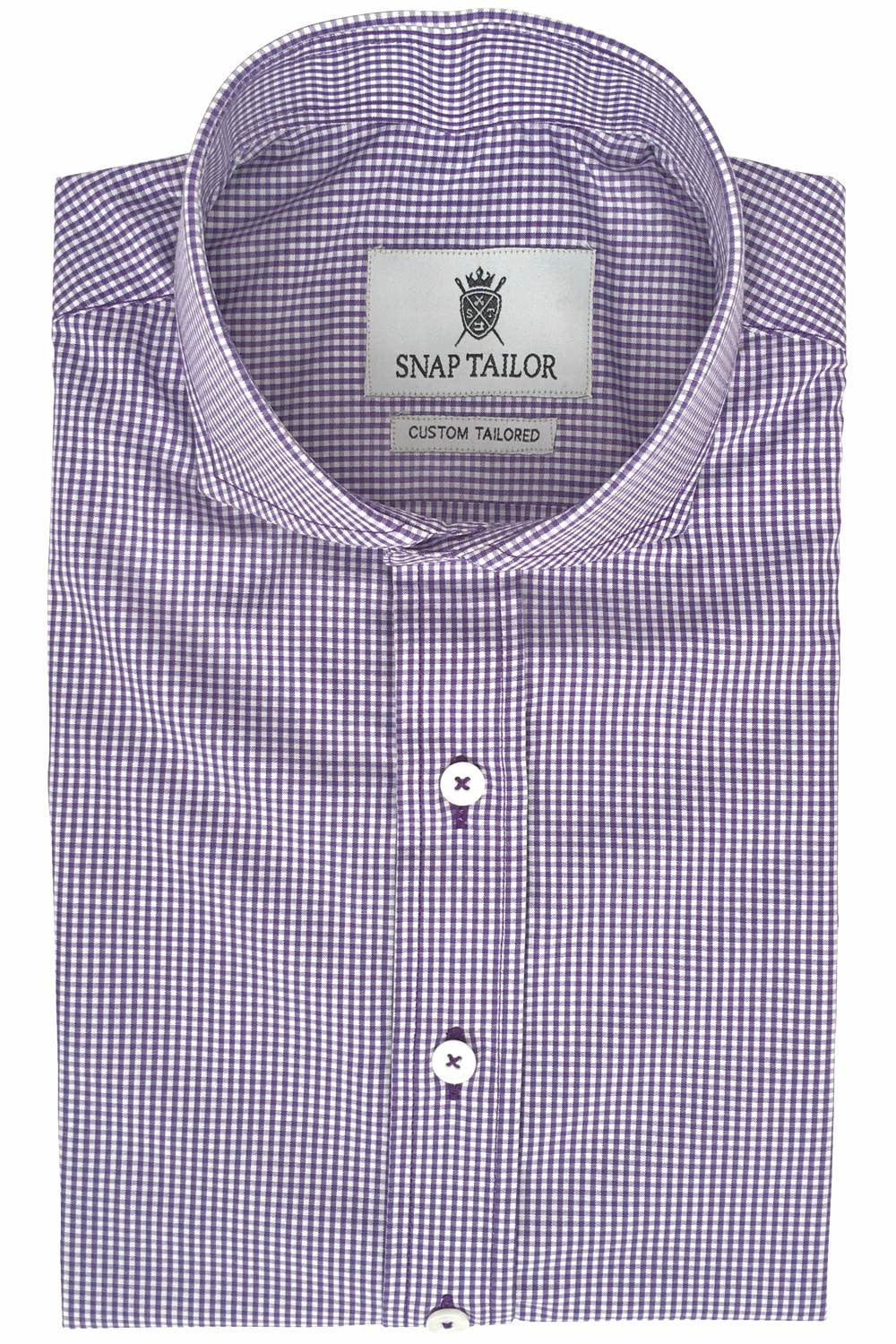 Photo of Non-Iron Mini Gingham Casual Shirt in Purple