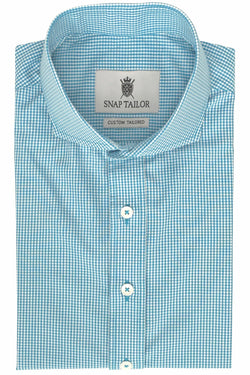 Photo of Non-Iron Mini Gingham Casual Shirt in Turqouise