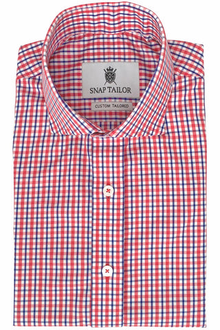 Photo of Non-Iron Tattersall Casual Shirt in Red and Blue