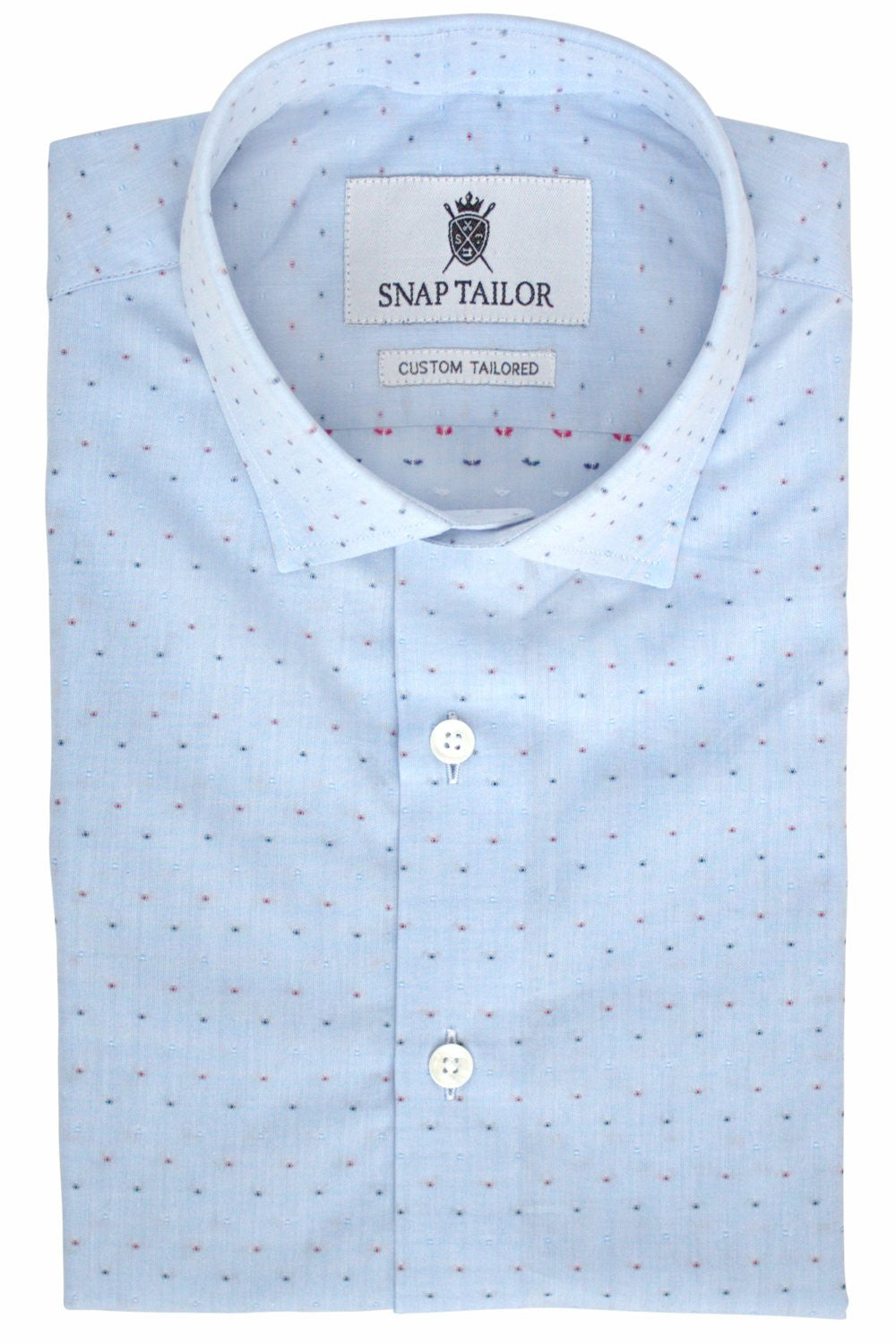 "Photo of Red White and Blue Dots Casual Shirt in Blue. Shown with optional Seamless Placket. To order like this, add ""Seamless Placket"" to the Special Instructions box"