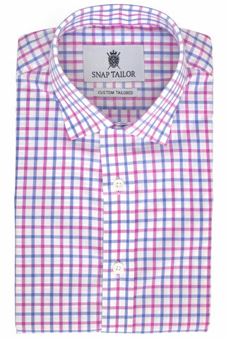 Photo of Tattersall Casual Shirt in Eggplant and Blue Violet