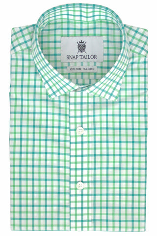 Photo of Tattersall Casual Shirt in Kelly Green and Pine Green