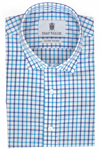 Photo of Tattersall Casual Shirt in Navy Blue and Turquoise
