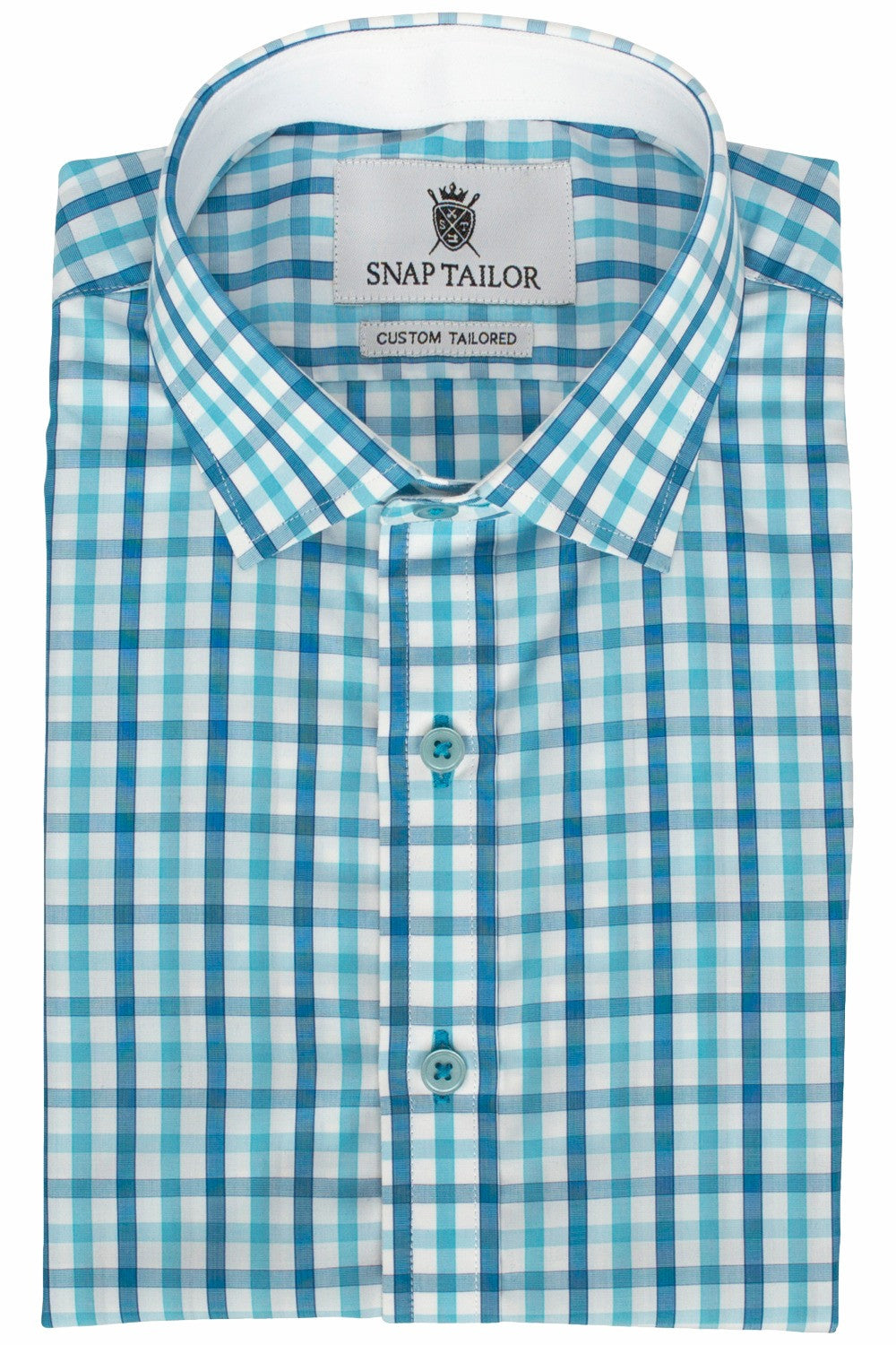 Photo of the Turquoise Check Casual Shirt shown with optional white contrast trim