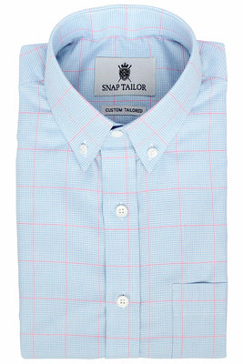 Photo of the Windowpane Houndstooth Dress Shirt in Pink/Light Blue