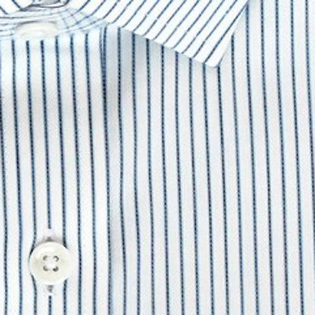 Zoomed in Photo of the Border Stripe Dress Shirt in White / Light Blue / Navy Blue