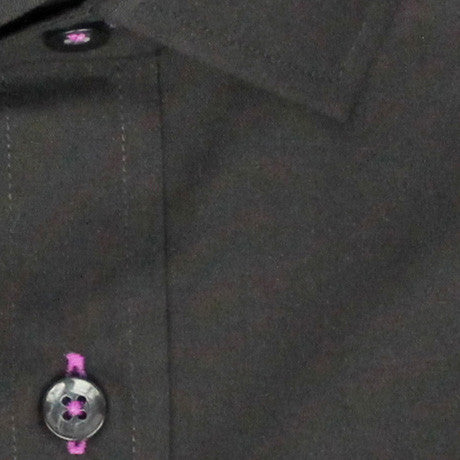 Zoomed in Photo of the Diamond Solid Dress Shirt in Black