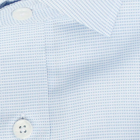 Zoomed in Photo of the Dots Dress Shirt in Sky Blue on White