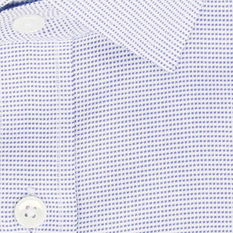 Zoomed in Photo of the Dots Soft Canvas Dress Shirt in Blue on White