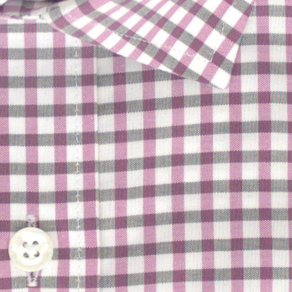 Zoomed in photo of Earthy Gingham Casual Shirt in Magenta and Black