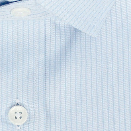 Zoomed in Photo of the Fine Twill Stripe Dress Shirt in Light Blue