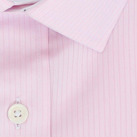 Zoomed in Photo of the Fine Twill Stripe Dress Shirt in Soft Pink