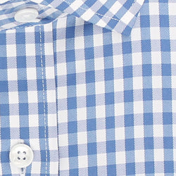 Zoomed in Photo of the Gingham Twill Casual Shirt in Blue