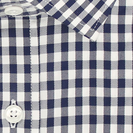 Zoomed in Photo of the Gingham Twill Casual Shirt in Midnight Blue