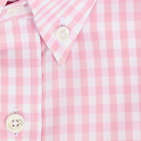 Zoomed in Photo of the Gingham Twill Casual Shirt in Soft Pink
