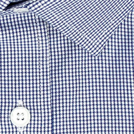 Zoomed in Photo of the Houndstooth Grid Twill Dress Shirt in Dark Blue