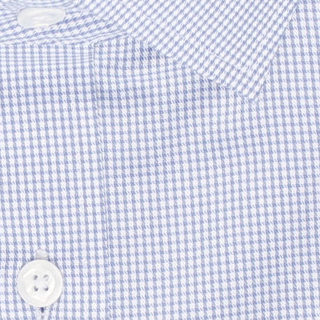 Zoomed in Photo of the Houndstooth Grid Twill Dress Shirt in Light Blue
