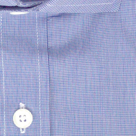 Zoomed in Photo of the Microgrid Dress Shirt in Dark Blue