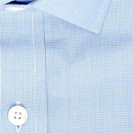 Zoomed in Photo of the Microgrid Dress Shirt in Light Blue
