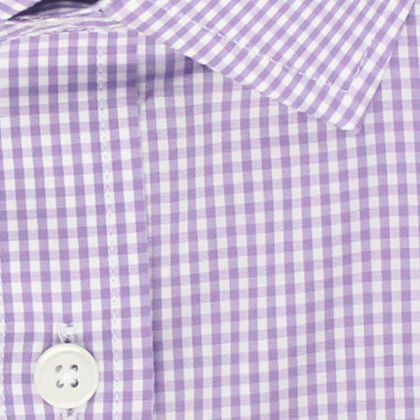 Zoomed in Photo of the Mini Gingham Dress Shirt in Lavender