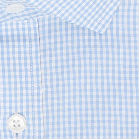 Zoomed in Photo of the Mini Gingham Dress Shirt in Light Blue