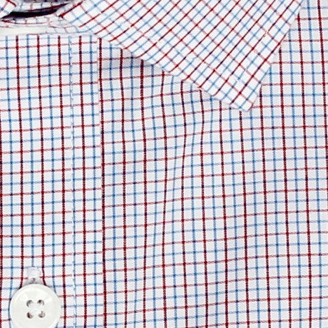 Zoomed in Photo of the Mini Tattersall Dress Shirt in Red / Cerulean Blue